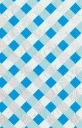 デコシートプロ チェック柄 ブルー 9×14cm シルバーラメ地