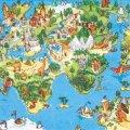 (D346)ペーパーナプキン アニマルポップ ワールドマップ 1枚 バラ売り