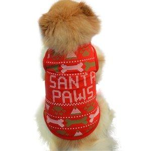 画像1: (dog1)  大特価品 期間限定 ドッグウエア クリスマス  santa paws トップス 小型犬 犬服 お洋服 X'mas