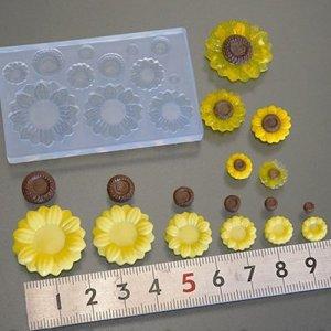 画像1: (S891)シリコンモールド ひまわり サンフラワー 6サイズ 夏の花 レジン 樹脂粘土