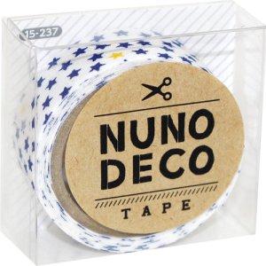 画像1: (KA15-237) ヌノデコテープ 【ちいさなスター しろ】 幅1.5cm 布デコ 名前テープ ハンドメイド 手芸 ネーム 布製 布マスキングテープ