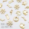 ★(1606) 埋め込み ミニチュアパーツ ゴールド クリスマス モチーフ アソート 封入れパーツ MIX 10個福袋 Xmas