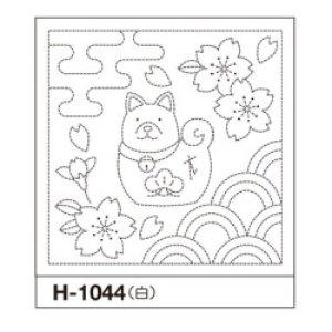 画像1: (opH-1044) 花ふきん パック【戌とさくら 】刺繍 布巾 犬 いぬ サクラ 白 初心者でも簡単 手作り 初級 手芸