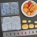 (S1015)シリコンモールド キッチン雑貨 コロッケ 揚げ物 おかず 6サイズ 立体型 ミニチュア 食玩 レジンや樹脂粘土でのフェイクフード作りに