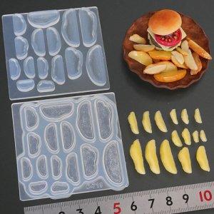画像1: (S1019)シリコンモールド キッチン雑貨 ポテト フライ くし形切り 立体型 ミニチュア 食玩 レジンや樹脂粘土でのフェイクフード作りに