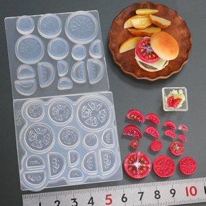 画像1: (S1018)シリコンモールド キッチン雑貨 トマトスライス&くし形切り 立体型 ミニチュア 食玩 レジンや樹脂粘土でのフェイクフード作りに