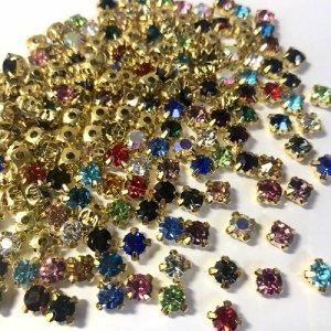 画像2: 【Diamond Bijou】期間限定 1100円→550円!大特価 ダイアモンドビジュー 15色セット 爪付きビジュー 選べるサイズ3mm/4mm/5mm 変則型 福袋 台座 ゴールド チャトン ネイルに