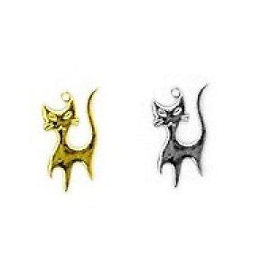 画像1: (kara540)【お取り寄せ商品 10個セット販売】動物 チャーム( ミール皿 ・ セッティング台 )   アンティークキャット ネコ ( ネコ) 2色展開 アクセサリー パーツ 和風