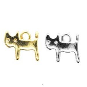 画像1: (kara08301)【お取り寄せ商品 10個セット販売】動物 チャーム( ミール皿 ・ セッティング台 )   横向き キャット 猫 ねこ ( ネコ ) 2色展開 アクセサリー パーツ 和風
