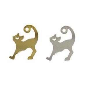 画像1: (kara02401)【お取り寄せ商品 10個セット販売】動物 チャーム( ミール皿 ・ セッティング台 )   伸び猫 キャット  ねこ ( ネコ ) 2色展開 アクセサリー パーツ 和風