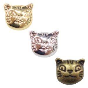 画像1: (kara15501)【お取り寄せ商品 10個セット販売】動物 チャーム( ミール皿 ・ セッティング台 )   通し穴付き 猫 キャットフェイス ( ネコ ) 3色展開 アクセサリー パーツ 和風