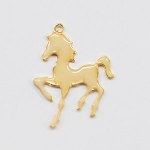画像1: (karaE440)【お取り寄せ商品 10個セット販売】動物 チャーム( ミール皿 ・ セッティング台 )  エポチャーム 馬(うま) ゴールド アクセサリー パーツ