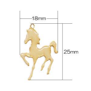 画像2: (karaE440)【お取り寄せ商品 10個セット販売】動物 チャーム( ミール皿 ・ セッティング台 )  エポチャーム 馬(うま) ゴールド アクセサリー パーツ