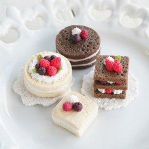 画像2: (S1005)シリコンモールド スライス スポンジケーキ 2種 Sサイズ フェイクフード 立体型 スイーツ ミニチュア雑貨 カフェ レジンや樹脂粘土に ミニチュア雑貨
