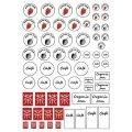 (ka1044) ミニチュアドリンク&ジャム用 超薄シール シート ロゴ ステッカー 1/12サイズ対応 模型用シール カフェドリンク シリコンモールド テーブルウエアコレクション用 クレイジュエリー モノクロ 白黒