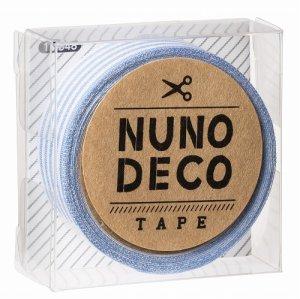 画像1: (KA11-848) ヌノデコテープ 【みずいろしましま】 幅1.5cm 布デコ 名前テープ ハンドメイド 手芸 ネーム 布製 布マスキングテープ