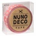 (KA11-850) ヌノデコテープ 【うすべに水玉】 幅1.5cm 布デコ 名前テープ ハンドメイド 手芸 ネーム 布製 布マスキングテープ