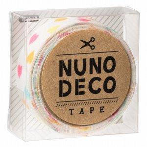 画像1: (KA11-852) ヌノデコテープ 【しろいカラフルハート】 幅1.5cm 布デコ 名前テープ ハンドメイド 手芸 ネーム 布製 布マスキングテープ