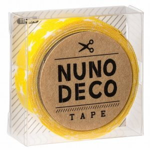 画像1: (KA11-858) ヌノデコテープ 【きいろスター】 幅1.5cm 布デコ 名前テープ ハンドメイド 手芸 ネーム 布製 布マスキングテープ