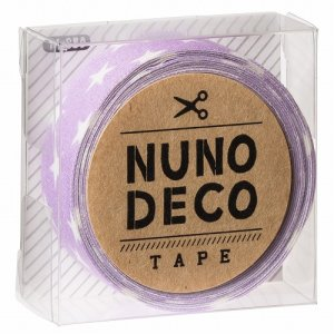 画像1: (KA11-859) ヌノデコテープ 【ふじいろスター】 幅1.5cm 布デコ 名前テープ ハンドメイド 手芸 ネーム 布製 布マスキングテープ