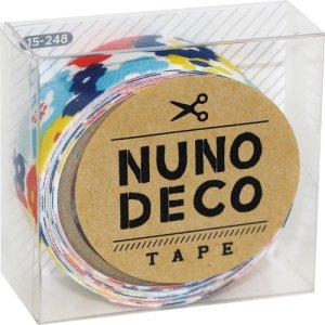 画像1: (KA15-248) ヌノデコテープ 【おはなのかんむり】 幅1.5cm 布デコ 名前テープ ハンドメイド 手芸 ネーム 布製 布マスキングテープ
