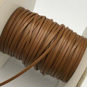 画像1: (LS15) 【副資材】 高品質 レザーストラップ 平紐 ライトブラウン うす茶 2mm幅 本革 テープ コード 10cm カット売り 皮紐