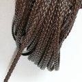 (LS89)【副資材】 高品質 レザーストラップ 平紐 ダークブラウン 3mm幅 本革 編み込み 三つ編み 10cm カット売り 革紐 皮紐 コード