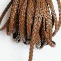 (LS92)【副資材】 高品質 レザーストラップ 平紐 ブラウン 3mm幅 本革 編み込み 三つ編み 10cm カット売り 革紐 皮紐 コード